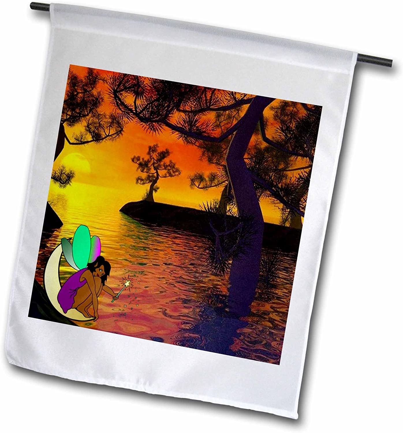 3dRose Florene Fairies and Fantasy - Image of African American Fairy in Treed Sunset Over Water - 12 x 18 inch Garden Flag (fl_240723_1)