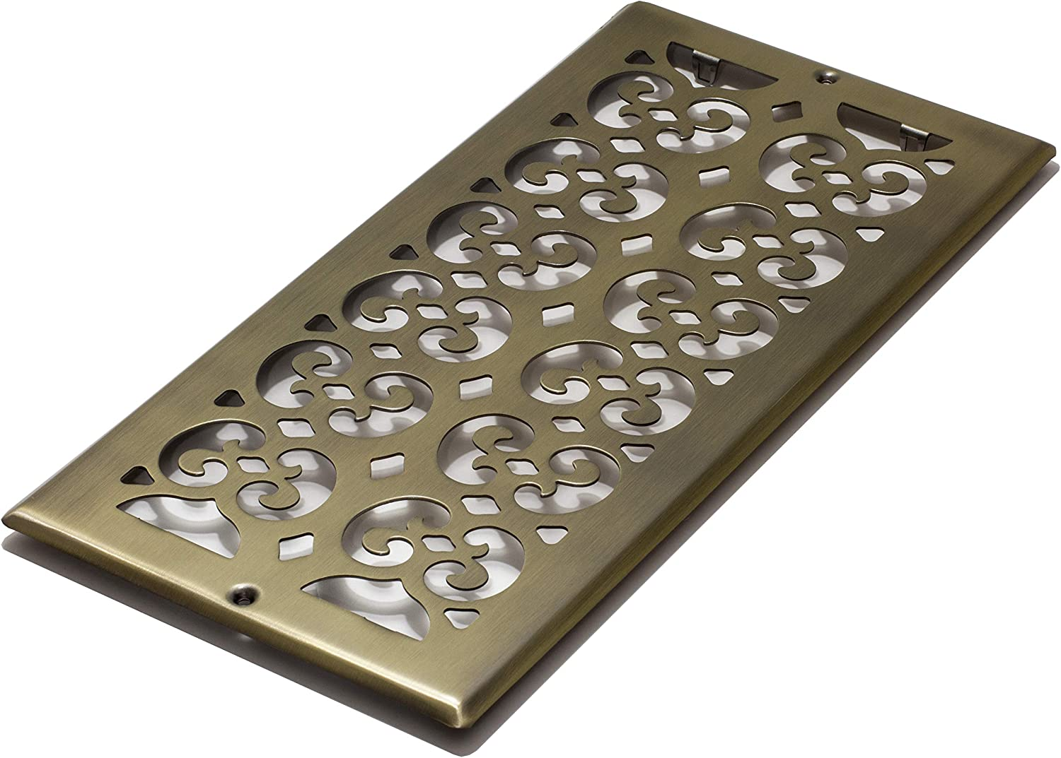 Decor Grates SP614R-A Scroll Plated, 6-Inch by 14-Inch, Antique Brass