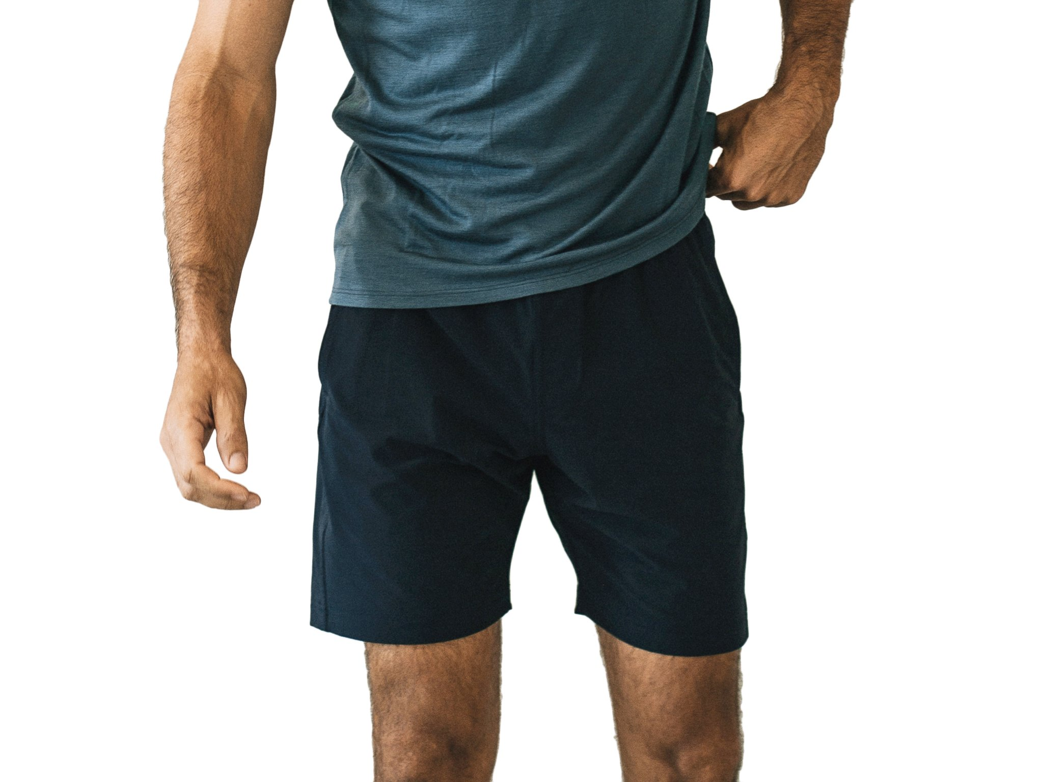 OLIVERS Apparel, Mens Water Repellent, 4-Way Stretch, All Over Short. Perfect for Running, Yoga, and Weightlifting - (Graphite, Small)