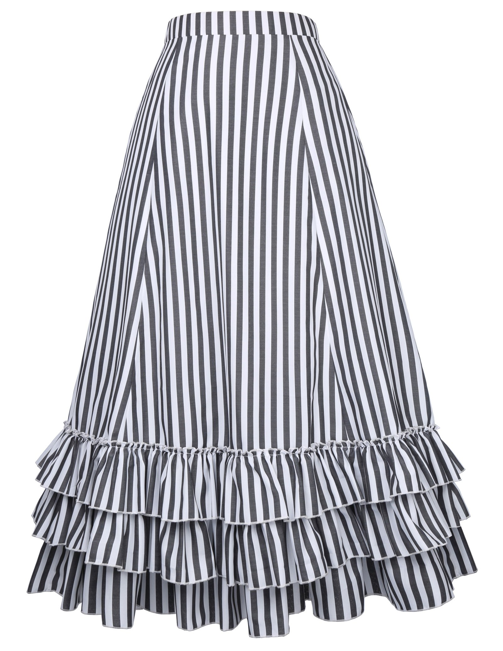 Belle Poque Women's Vintage Stripes Gothic Victorian Skirt Renaissance Style Falda 4