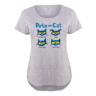 64b73a3c Pete the Cat The Faces of Pete - Ladies Plus Size Scoop Neck Tee at Amazon Women's  Clothing store: