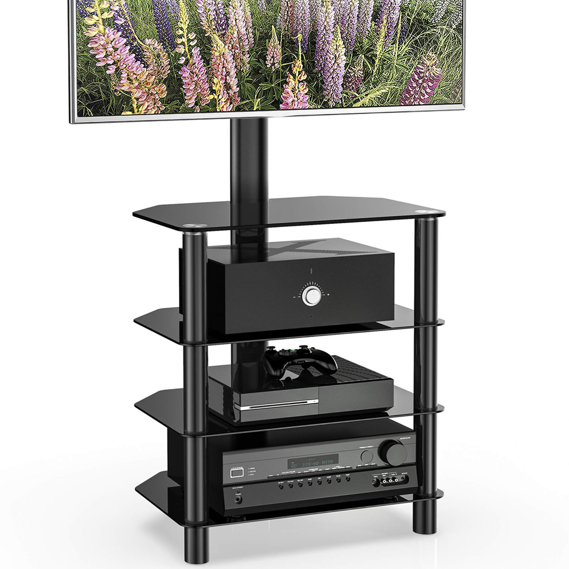 FITUEYES 4-Tiers Corner TV Stand Monitor Stand Base for 32 to 55 inches Height Adjustable Media Storage Stand Tempered Glass Shelves for Media Player TW406001MB by FITUEYES