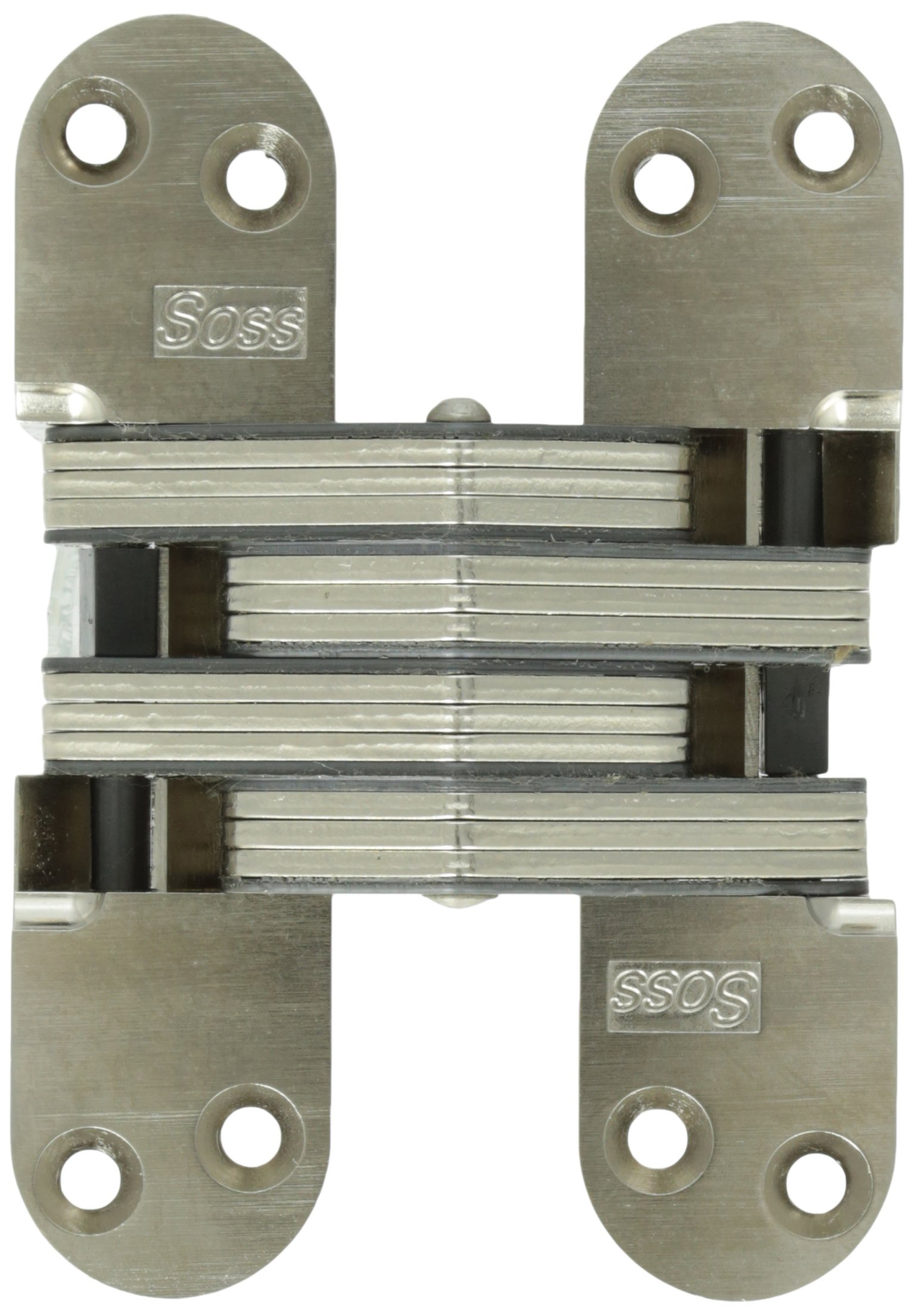 SOSS 220 Zinc Invisible Hinge with Holes for Wood or Metal Applications, Satin Nickel Exterior Finish