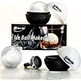 Elegant Round Ice Cube Mold - Sphere Ice Ball Maker - Creates Large 2.5 Inch Ice Balls - Ideal Gift for Whiskey and Cocktail Lovers - Set of 2 Silicone Trays