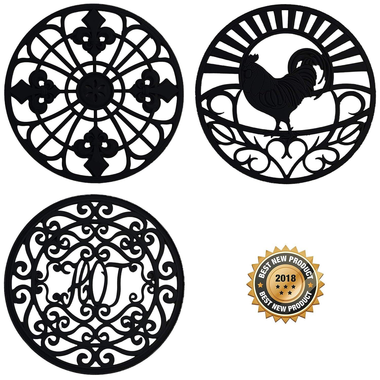 "Silicone Trivet Set For Hot Dishes | Modern Kitchen Hot Pads For Pots & Pans | Country Decor Designs Mimics Vintage Cast Iron Trivets | 7.5"" Round, Set of 3, Black"