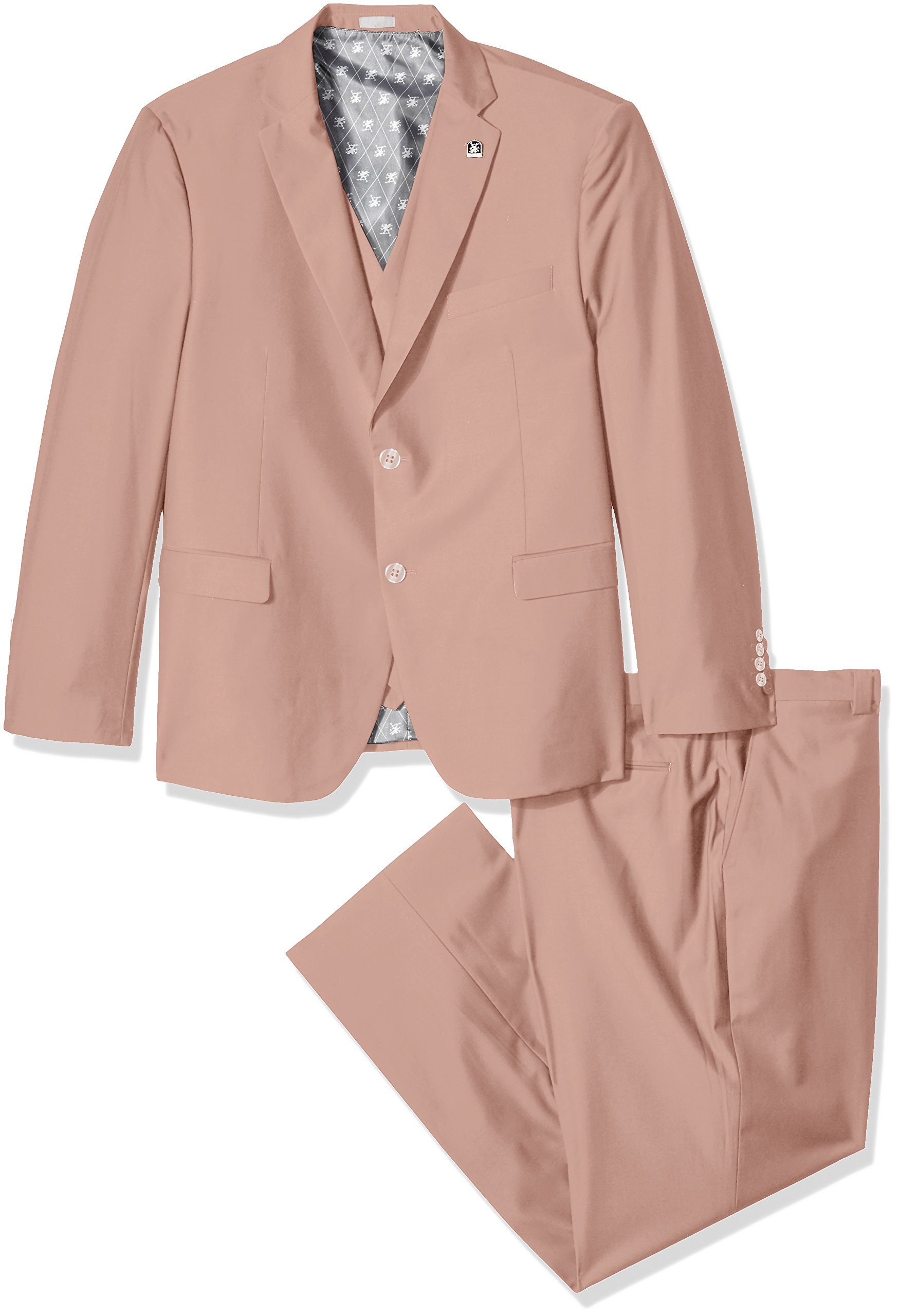 STACY ADAMS Men's Tall Bud Big & Tall Vested Slim Fit Suit, Misty Rose 56 Long