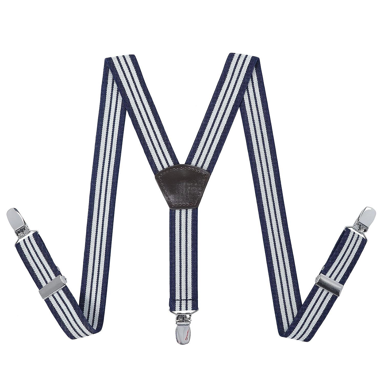 Homme Enfants Bretelles Suspenders Réglable - élastique Largeur 2.5 cm Y Forme 3 Clips Unisexe Bretelles