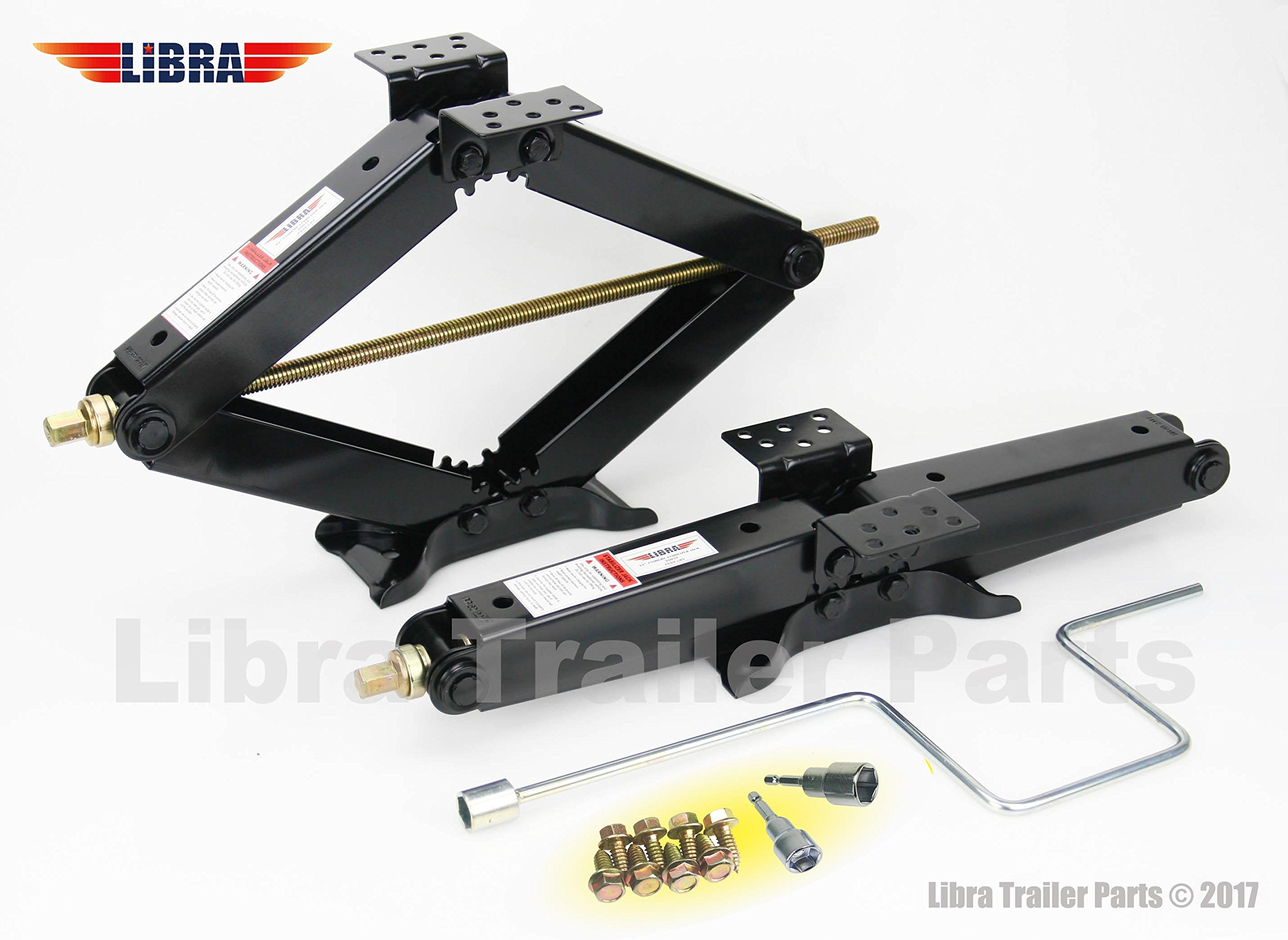 LIBRA Set of 2 True 7500 lb Heavy Duty 24'' RV Trailer Stabilizer Leveling Scissor Jacks w/Handle & Dual Power Drill Sockets & Hardware -Model# 26037 by LIBRA