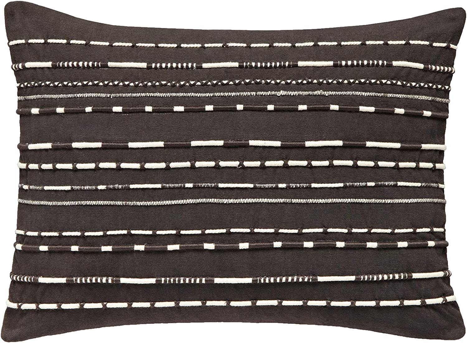 Splendid Home Applied Cord Decorative Pillow Throw Pillow, 21x16, Charcoal