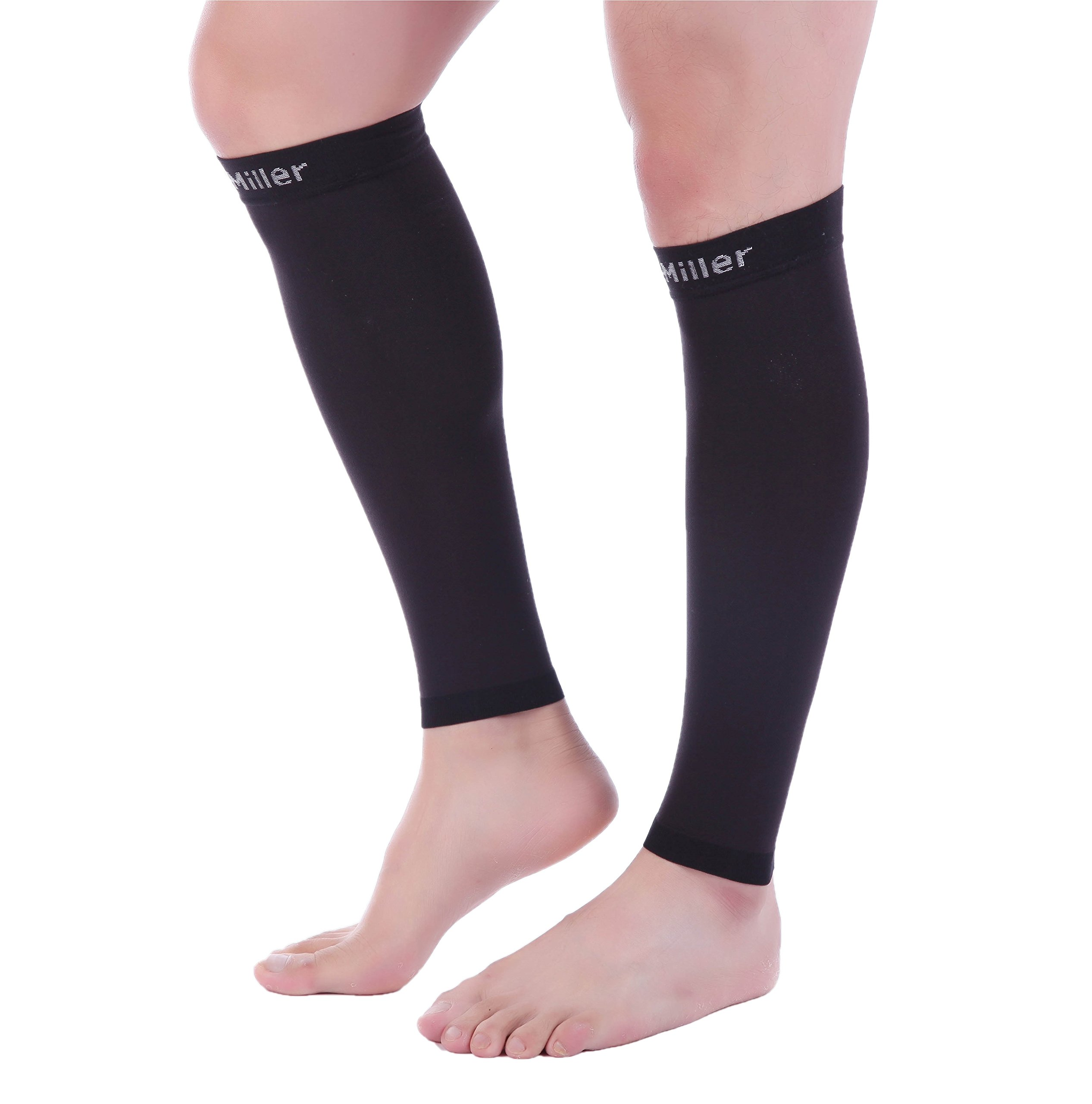 Doc Miller Premium Calf Compression Sleeve 1 Pair 20-30mmHg Strong Calf Support Graduated Pressure for Sports Running Muscle Recovery Shin Splints Varicose Veins (Black, 5X-Large) by Doc Miller (Image #5)