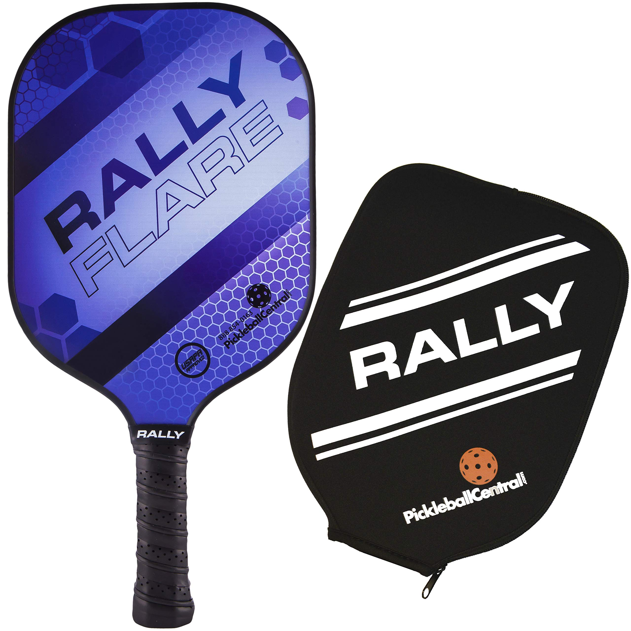 Rally Flare Graphite Pickleball Paddle - Purple | Polymer Honeycomb Core, Graphite Face | Lightweight Control, Power, Spin | Paddle Cover Included in Bundle | USAPA Approved