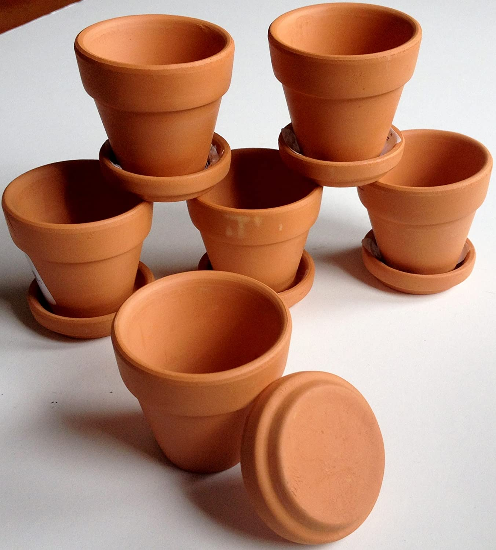 Mini Terra Cotta Pots With Saucers Set Of 6 Ebay