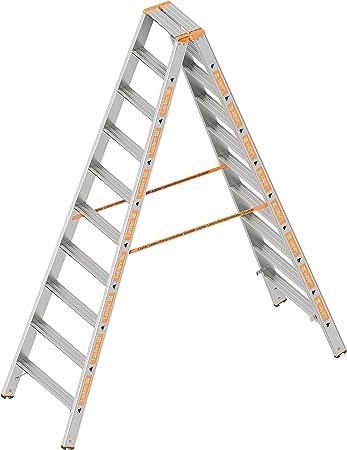 Layher 1043010 Nivel Topic, escalera de aluminio (2 x 10 peldaños 80 mm de ancho, ambos lados, plegable, longitud 2.50 m: Amazon.es: Bricolaje y herramientas
