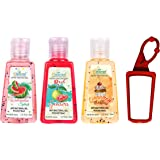 Kleanse Hand Sanitizer Pack of 3,30 ML with Free Bag Tag - Cinnamon Watermelon, Red Guava