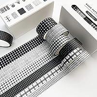Grid Washi Tape Set, 6 Rolls 16.4ft Long Black White Checkered Decorative Washi Masking Tapes for Bullet Journal…