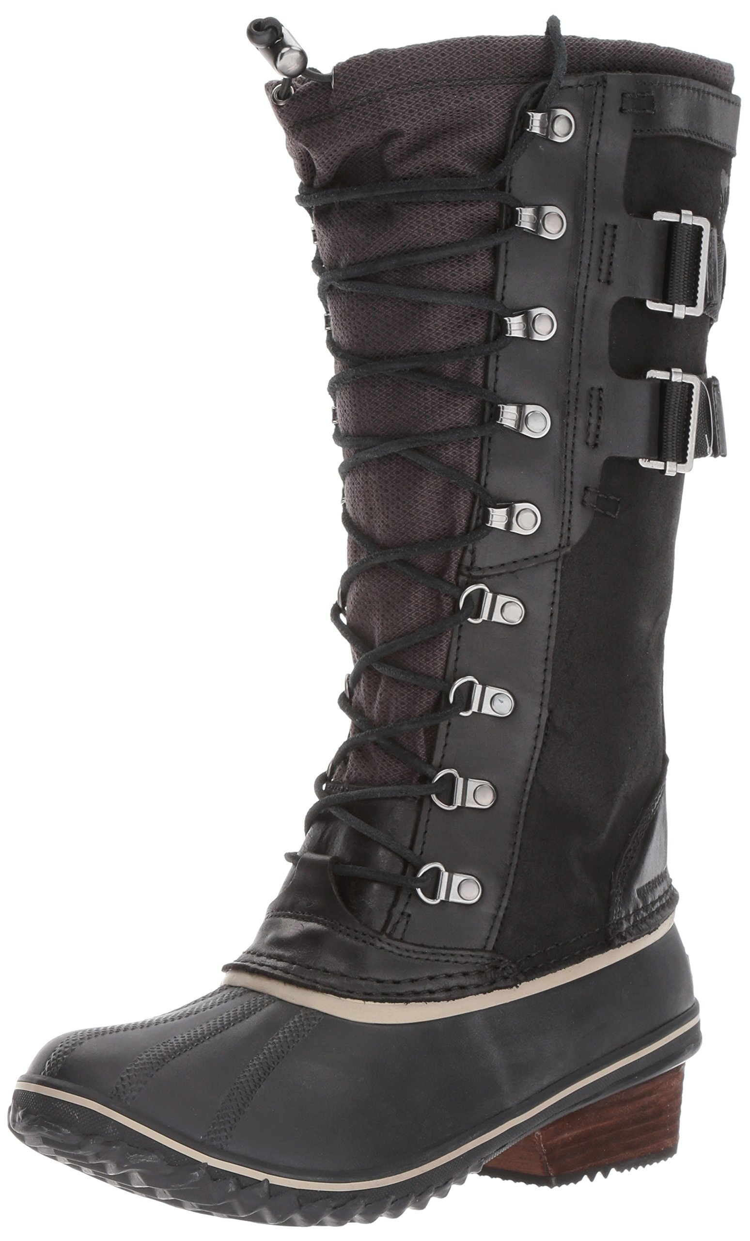 SOREL Women's Conquest Carly II Snow Boot, Black, Silver Sage, 6 B US
