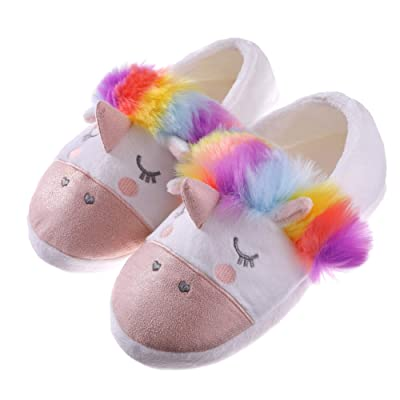 RONGBLUE Womens Girls Cute Unicorn Animal Slippers Fleece Plush Warm Indoor House Bedroom Winter Shoes Colorful, L / 7-8.5 M US | Slippers