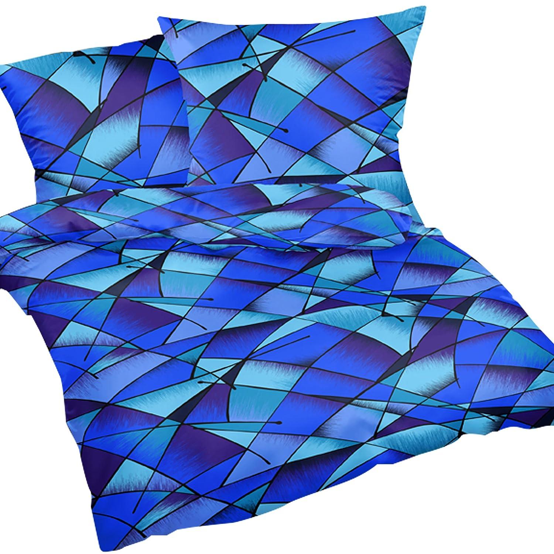 Wildes Muster b/ügelfrei S-183//2 Heubergshop 2-teilige Seersucker Bettw/äsche 135x200cm und 80x80cm Bettgarnitur aus 100/% Baumwolle Blaue Streifen