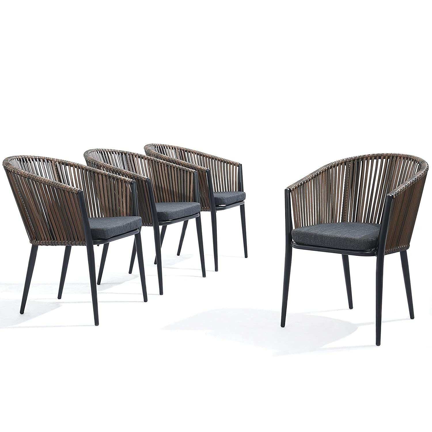 Modern patio rattan dining chairs set of 4 comfy high bow back metal windsor arm chairs stackable for outdoor garden café restaurant bistro bar dinette