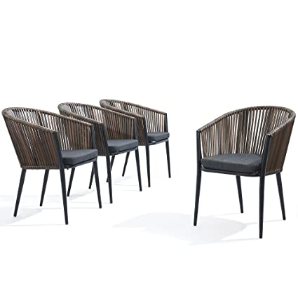 Modern Patio Rattan Dining Chairs Set of 4 - Comfy High Bow-Back Metal  Windsor Arm Chairs, Stackable for Outdoor Garden Café Restaurant Bistro Bar  ...