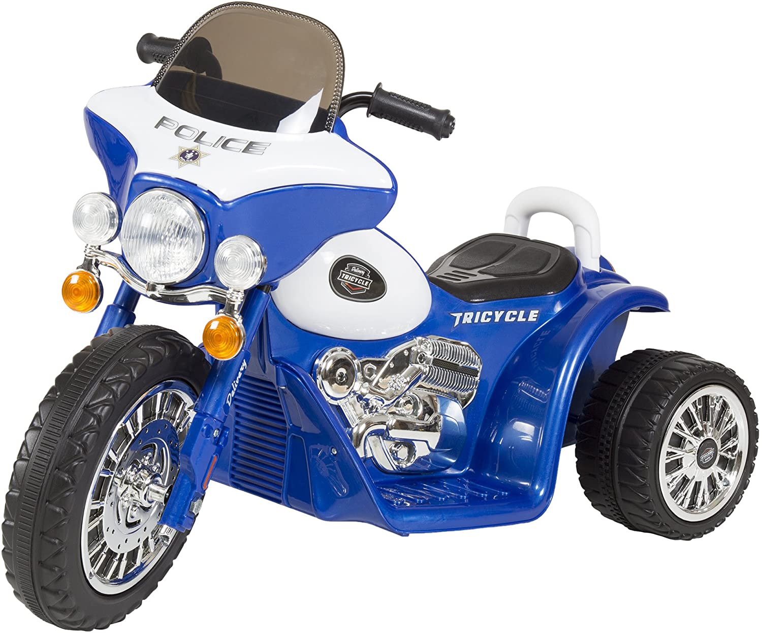 3 Wheel Mini Motorcycle Trike for Kids, Battery Powered Ride on Toy by Rockin ' Rollers– Toys for Boys and Girls, 2 - 5 Year Old– Police Car Blue