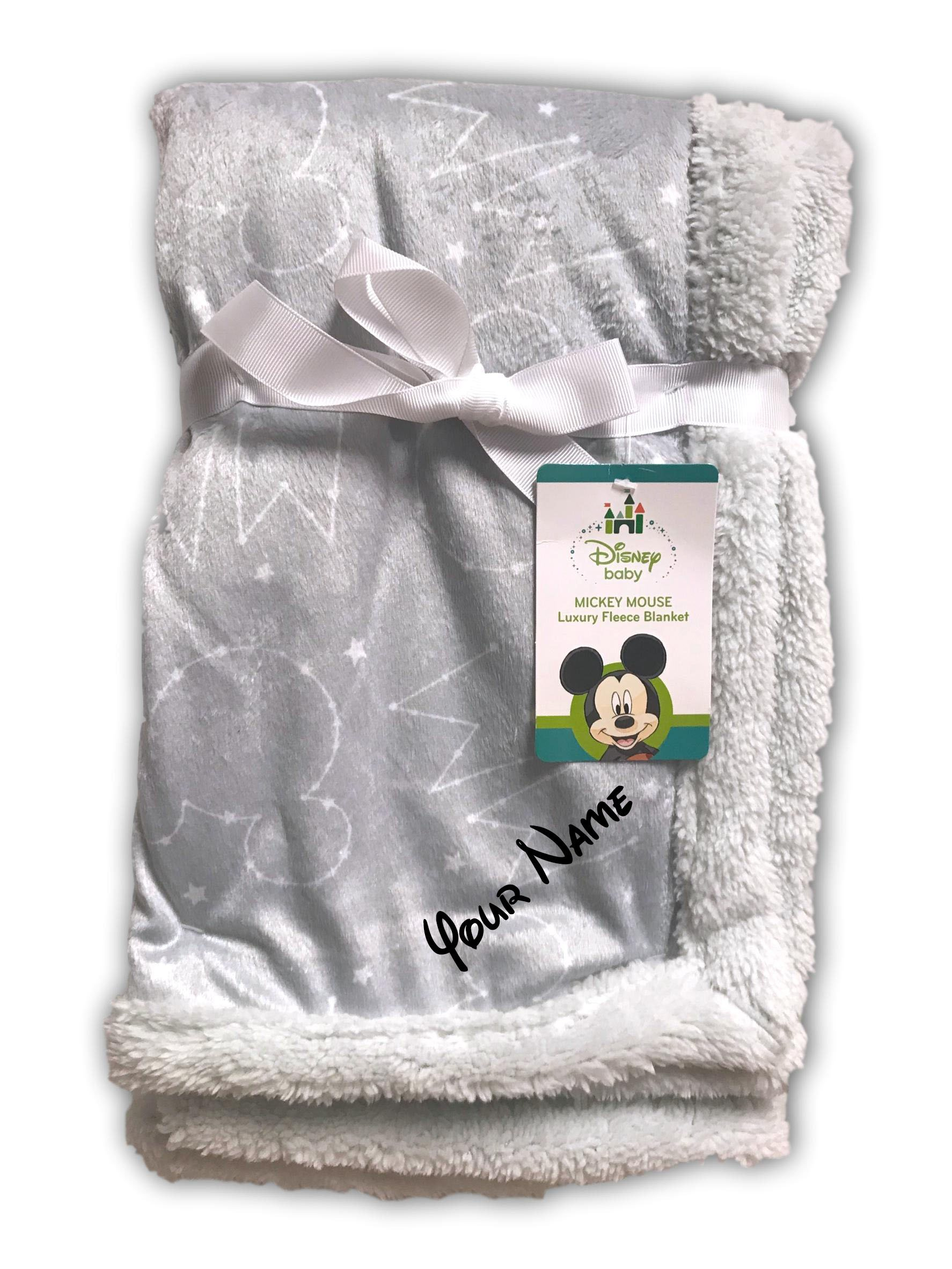 Personalized Disney Baby Mickey Mouse Constellation and Stars Grey Luxury Mink Fleece Sherpa Blanket
