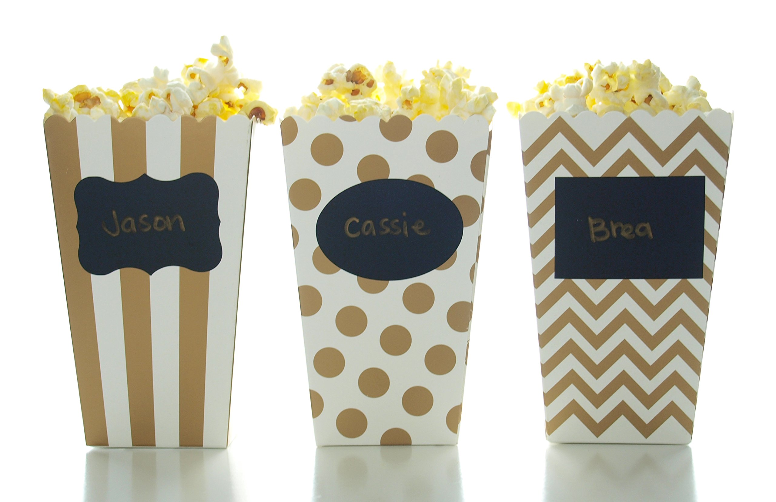 Gold Popcorn Boxes & Black Label Chalkboard Vinyl Stickers (36 Pack) - Open-Top Candy / Treat Favor Boxes, Use Decal Tag to Personalize Party Favors, Mini Popcorn Tubs