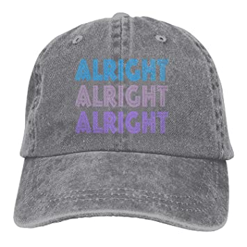 23e6c0b27449b Vintage Cap Hat Alright Alright Alright Six-Panel 3D Print Adjustable Baseball  Hat For Unisex Black  Amazon.co.uk  Sports   Outdoors