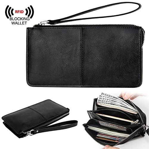 on sale e6fb4 a3c87 YALUXE Women's Leather RFID Blocking Zipper Clutch Wristlet Wallet for  iPhone 8 Plus/Galaxy S5