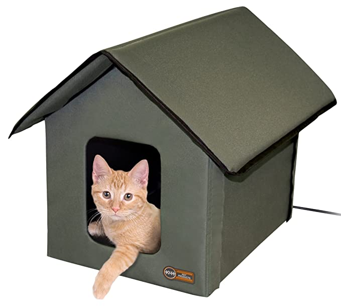 Amazon.com : K\u0026H Manufacturing Outdoor Kitty House 18 x 22 x 17-Inches Unheated - Olive : Pet Beds : Pet Supplies