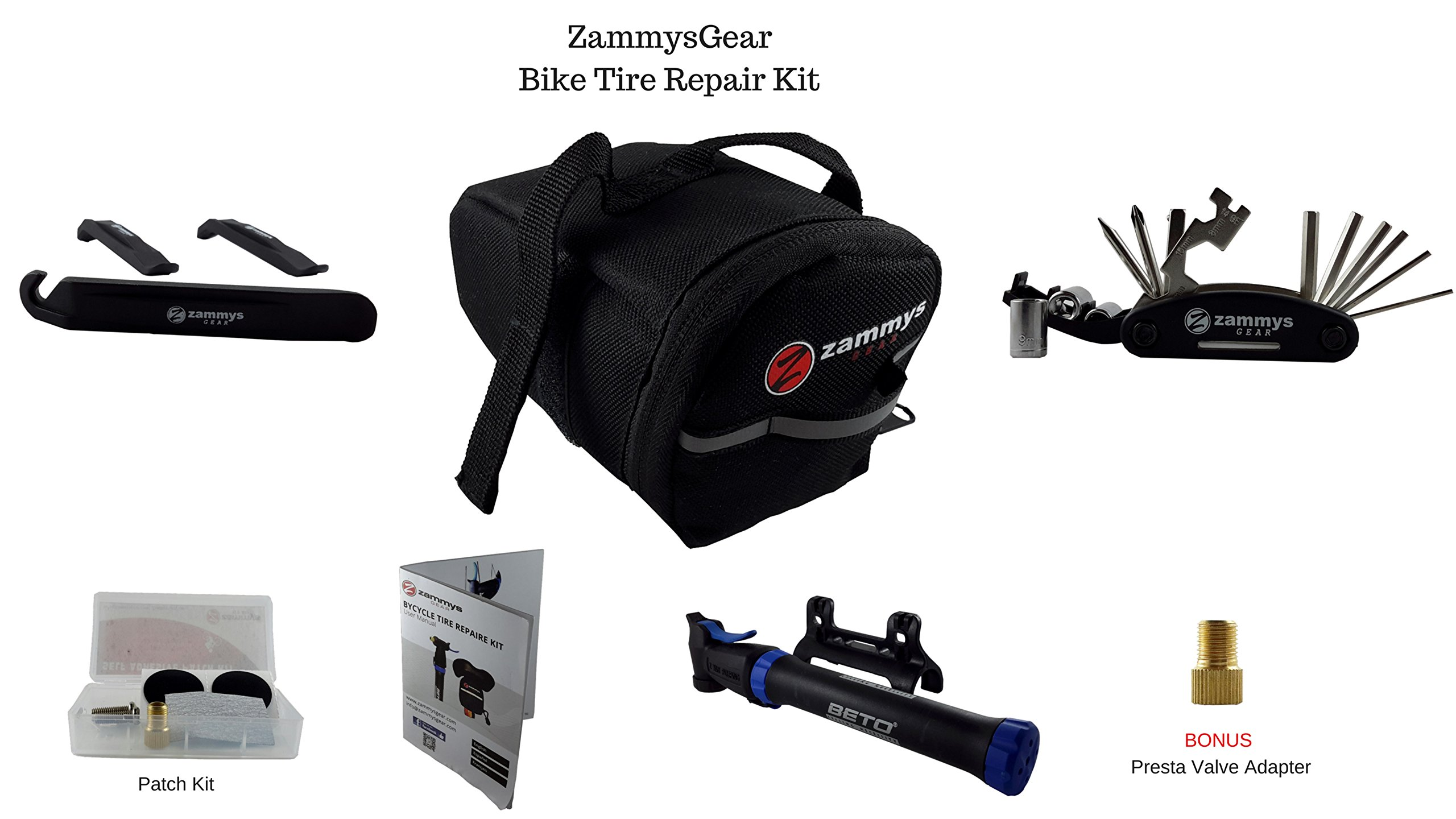 Best Bicycle Flat Tire Repair Kit for Bicycle and Bike. Bike Tire Pump, Patch Tool Kit in Bicycle Accessories Saddle Bags by ZammysGear