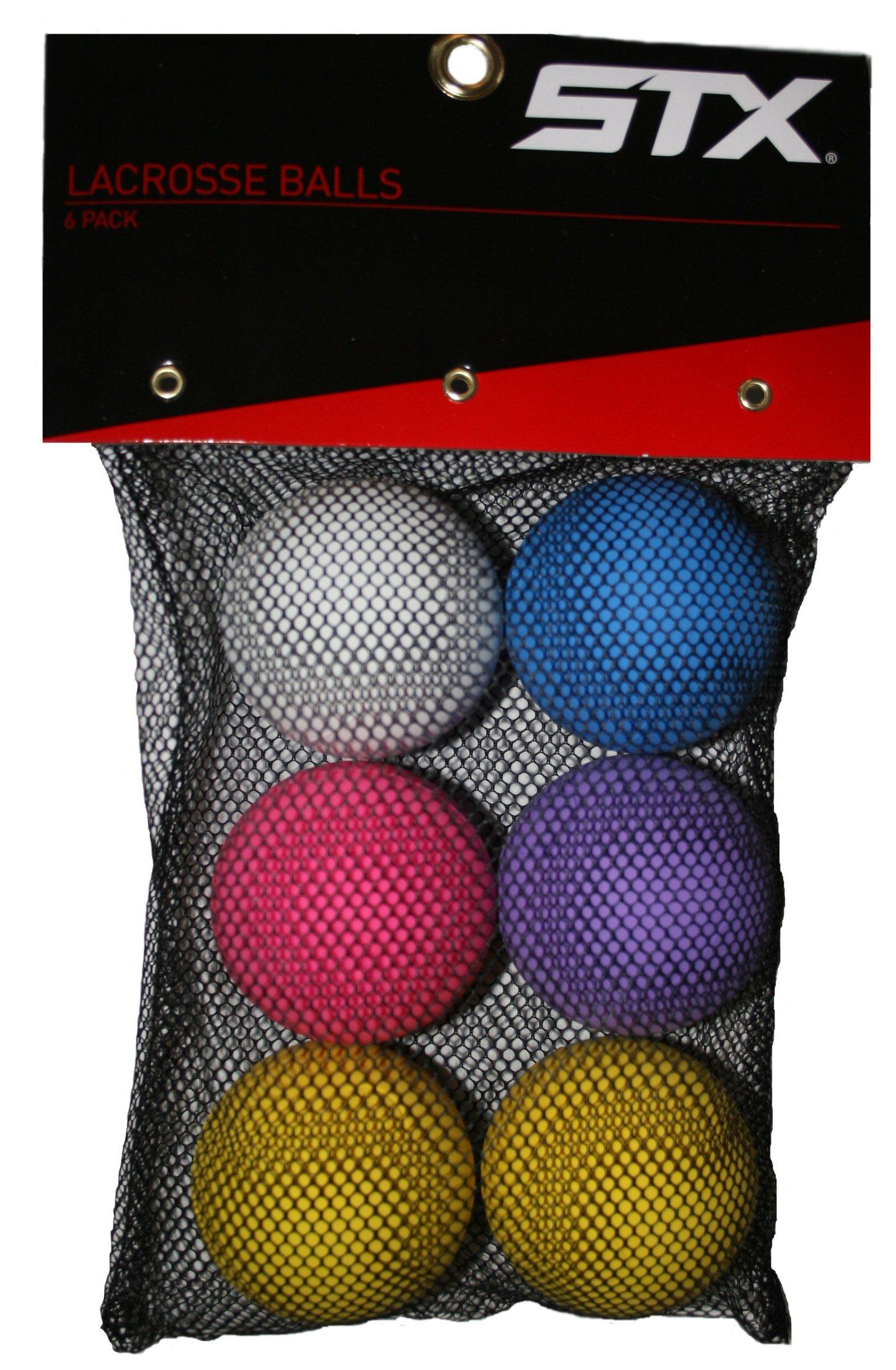 STX Lacrosse Balls in Mesh Bag (Pack of 6), Assorted Colors