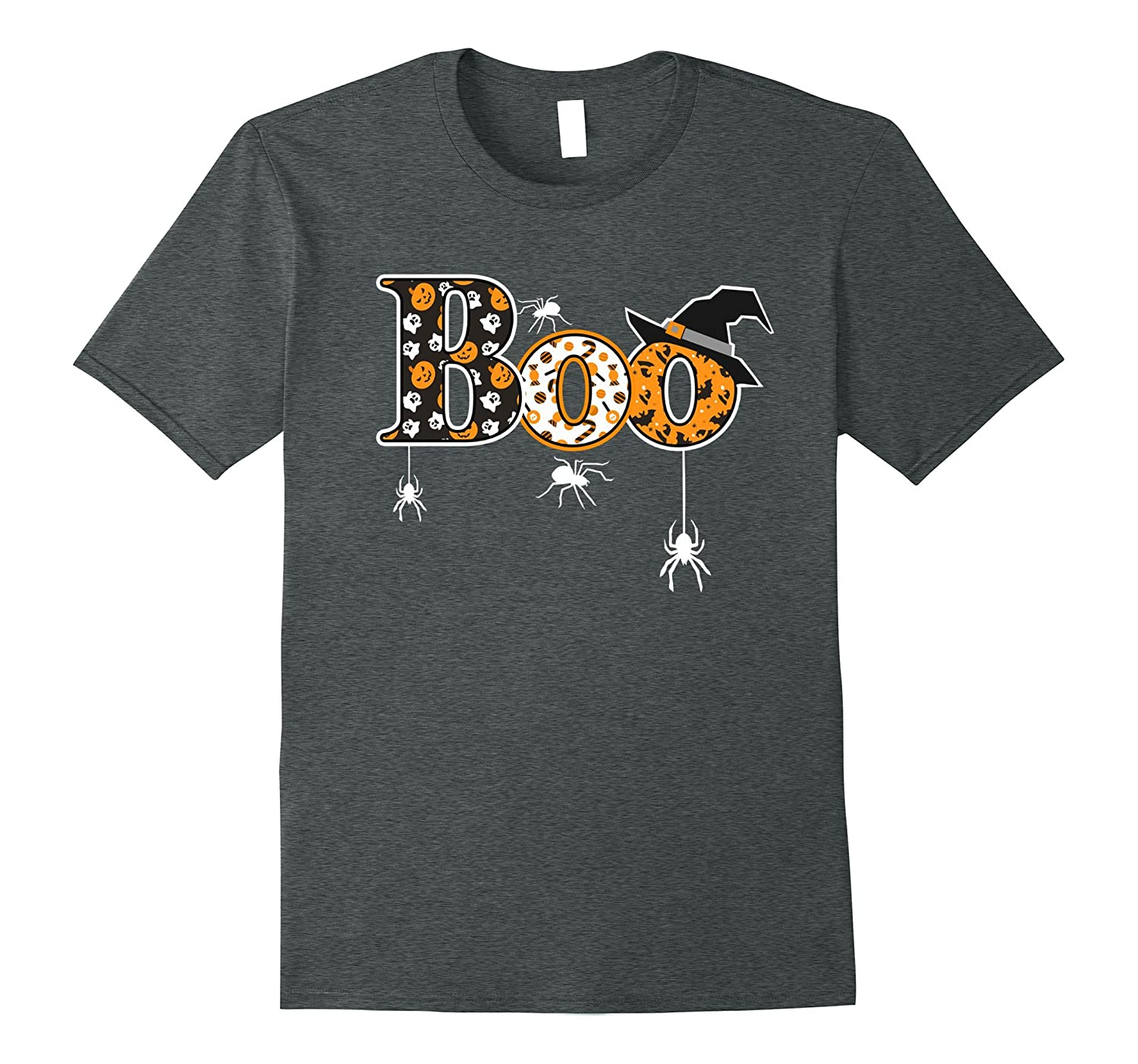 Boo Halloween T-Shirt With Spiders And Witch Hat-FL