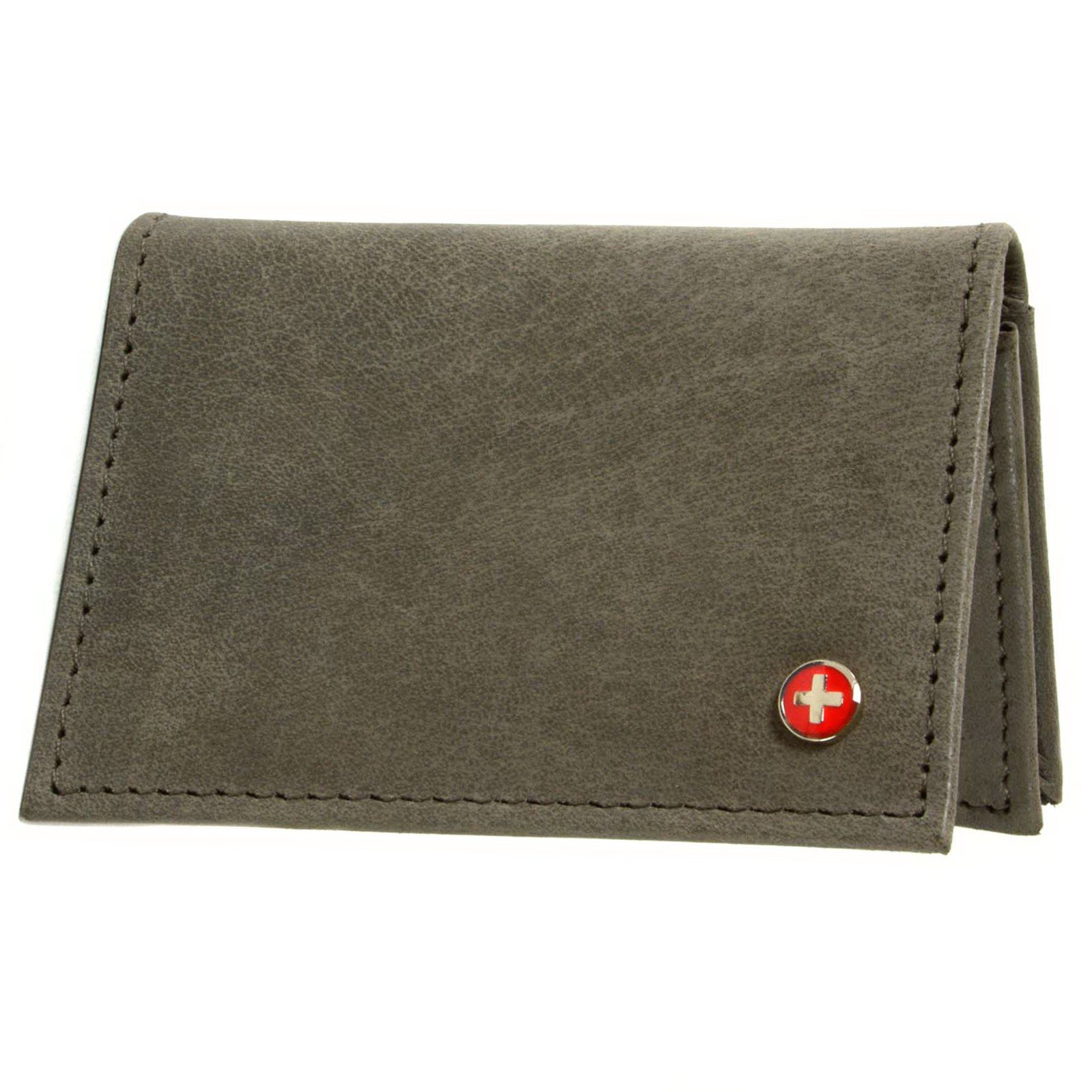Alpine Swiss Genuine Leather Thin Business Card Case Minimalist Wallet Gray