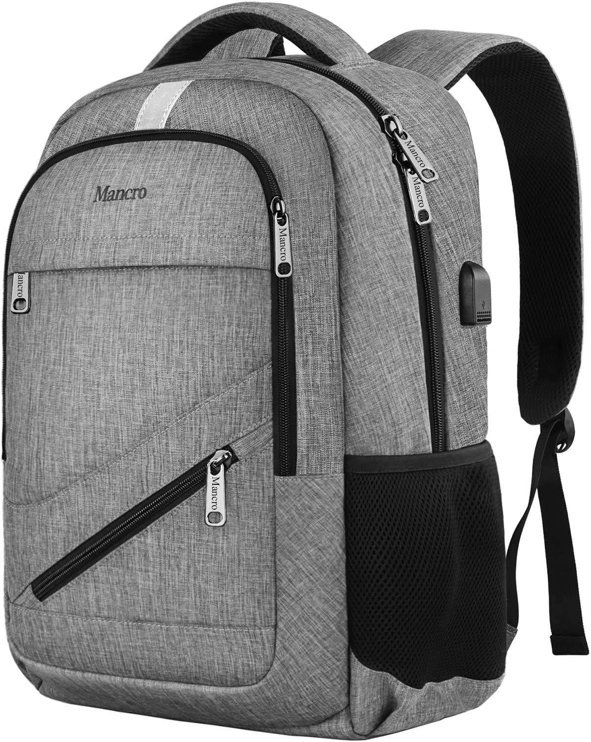 Laptop Backpack, Anti Theft Travel Backpack with USB Charging Port for Men and Women, Water Resistant College School Computer Bookbag, Slim Business Bags with RFID Pocket Fits 15.6 Inch Laptops, Grey