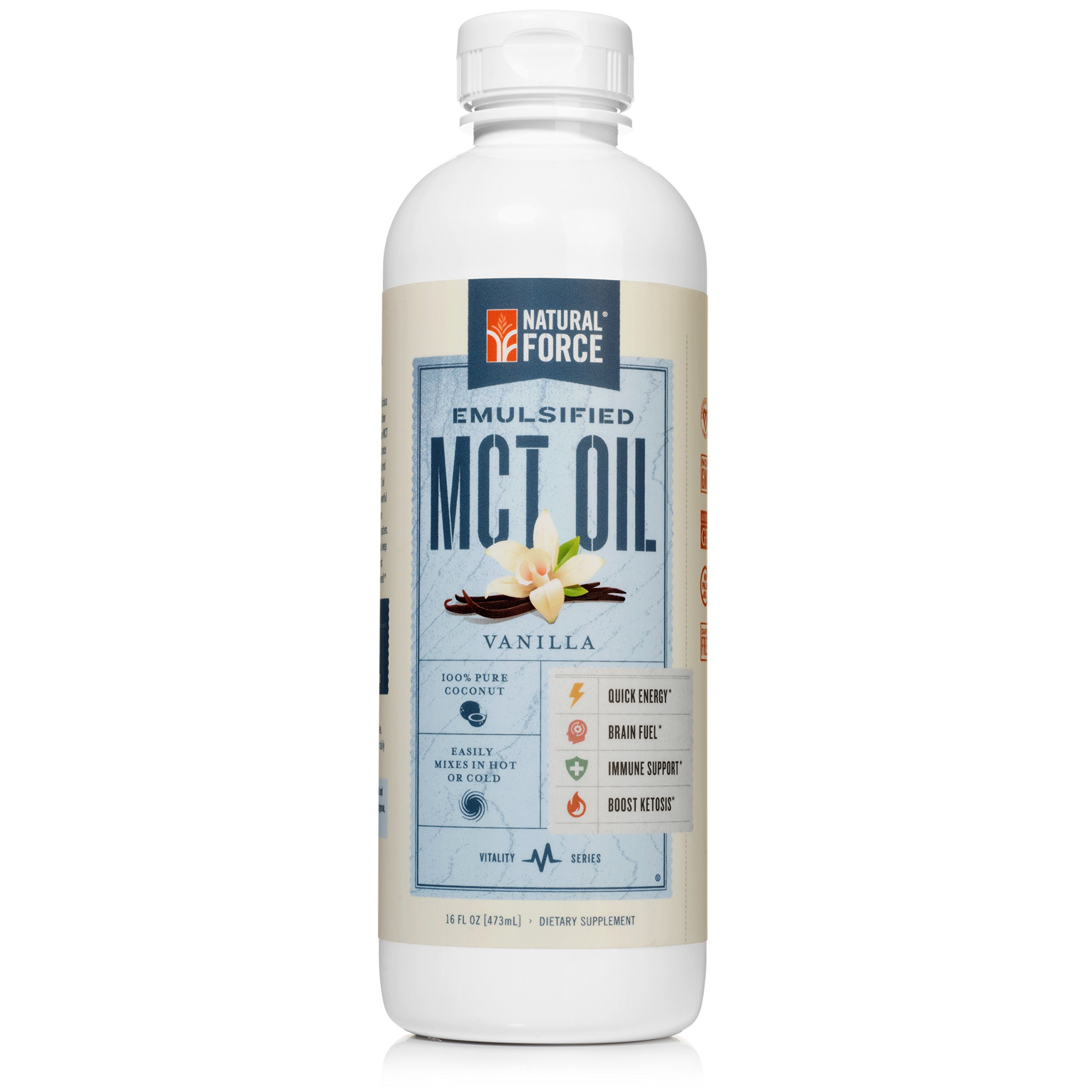 Emulsified MCT Oil Creamer, Vanilla *Best Keto MCT Oil for Mixing in Drinks* Unsweetened – No Palm Oil, Made with Organic Coconuts from The Philippines by Natural Force, 16oz