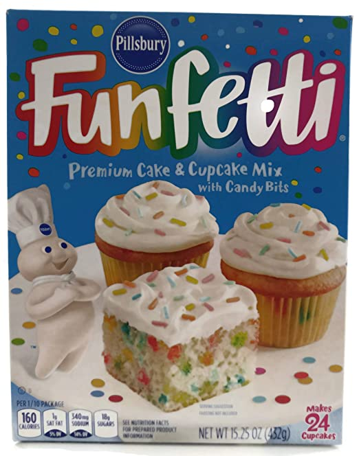 Pillsbury, Funfetti Cake Mix with Candy Bits, 15.25oz Box (Pack of 4)