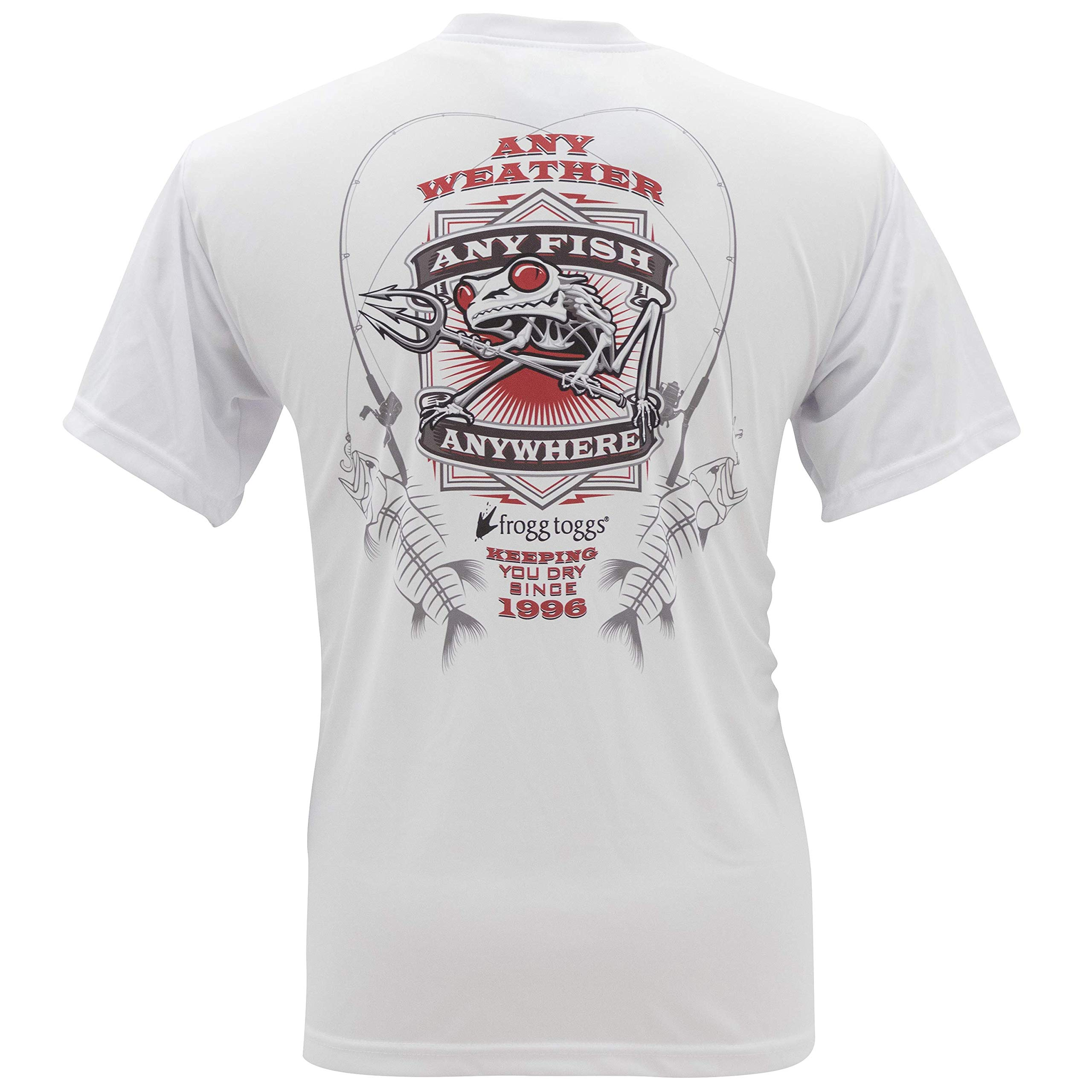 Frogg Toggs FTSSAF-03 Any Fish, Anywhere Short Sleeve Performance Shirt, White with Red Logo, Large