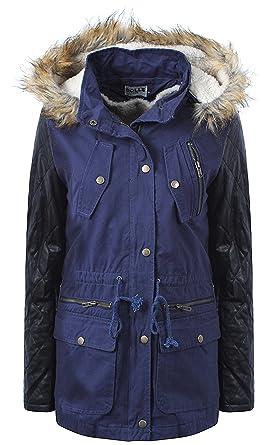 Juicy Trendz Women's Ladies Parka Jacket Faux Fur Lining Winter ...