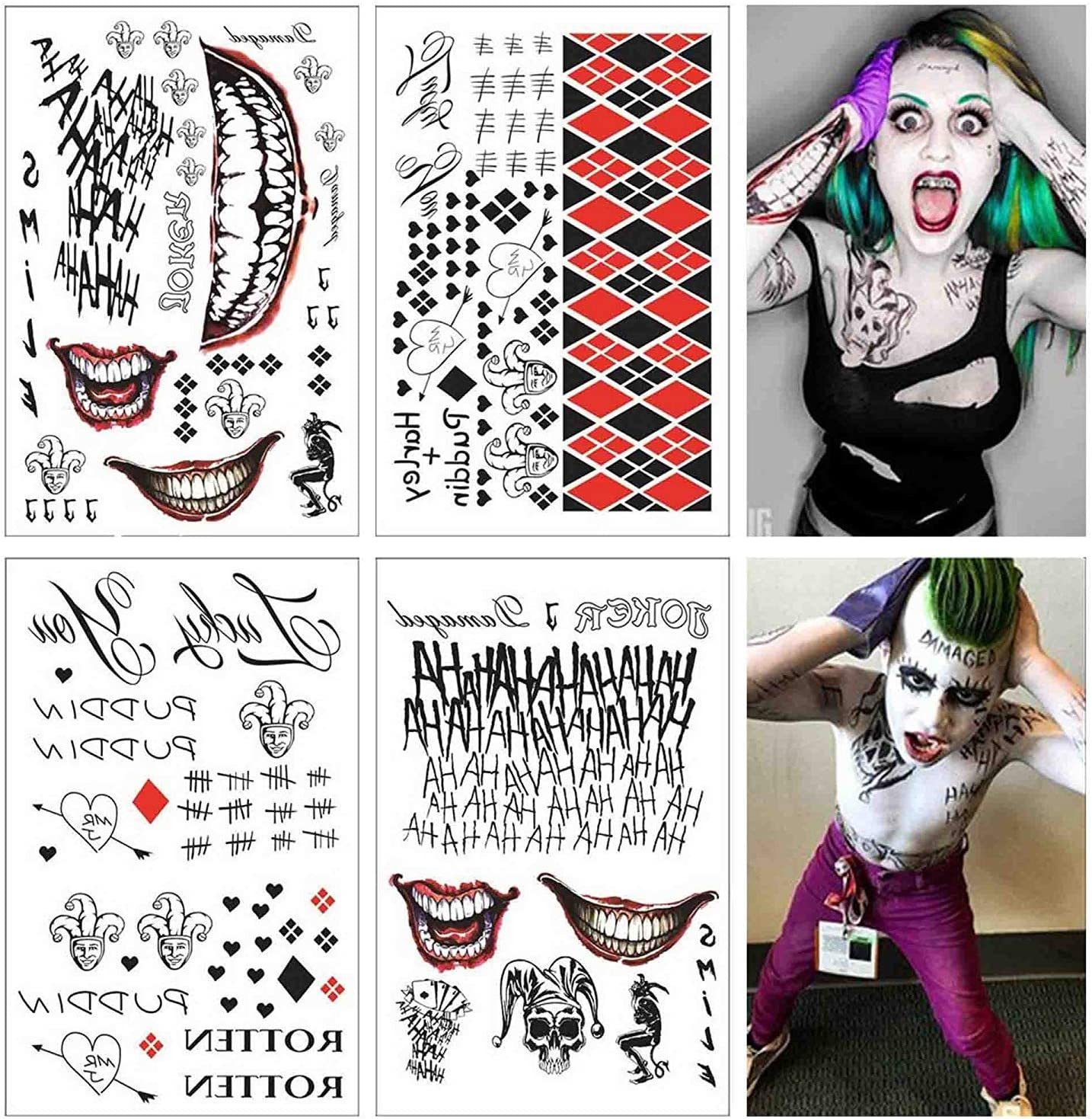 Lim 4 Hojas Grandes SS Tatuaje Temporal HQ & The Joker Sticker 80 ...