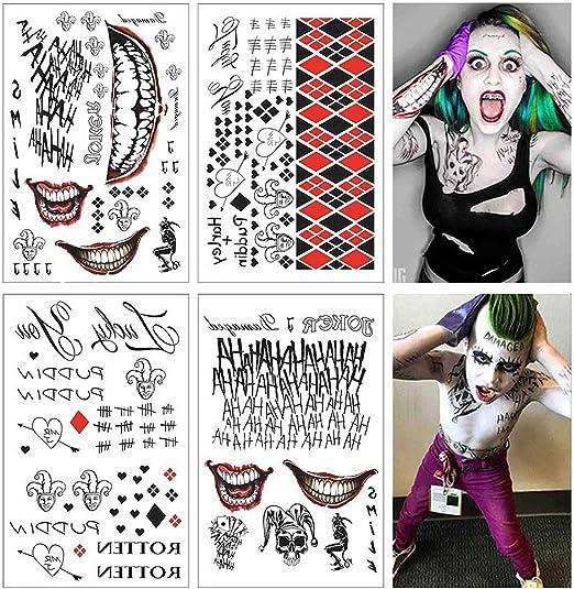 Lim 4 Hojas Grandes SS Tatuaje Temporal HQ & The Joker Sticker 80 ...