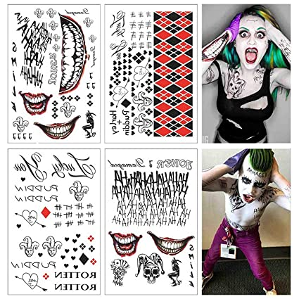 Lim 4 Grandes Feuilles SS Tatouage temporaire HQ \u0026 The Joker Autocollant 80  + Tats Costume/Cosplay Accessoires de fête