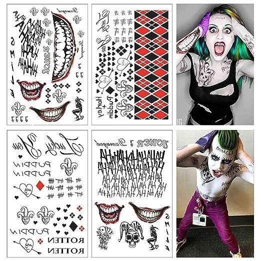 Lim 4 Hojas Grandes SS Tatuaje Temporal HQ & The Joker Sticker 80 + Tats Traje/Cosplay Party Accesorios