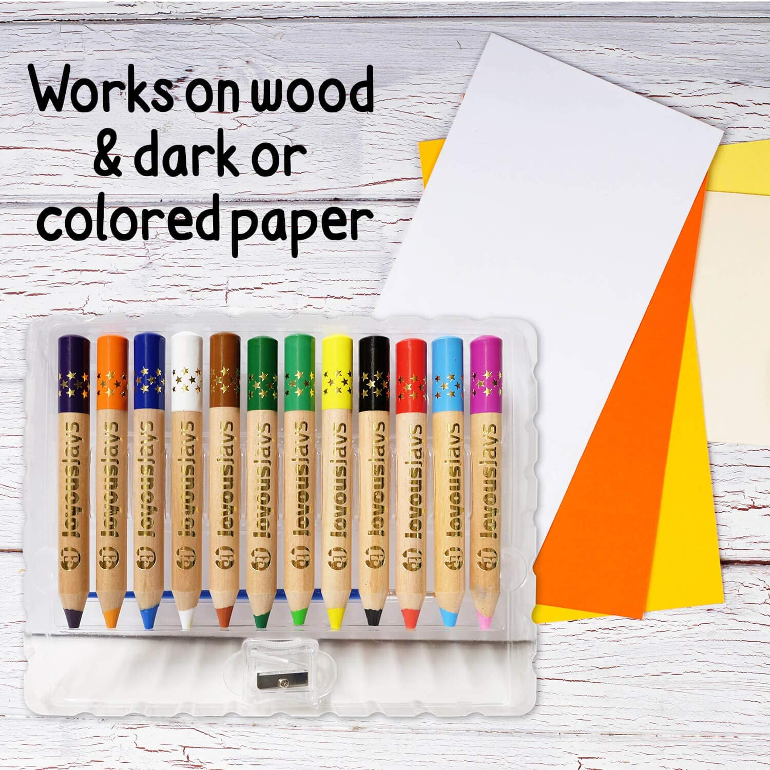 JoyousJays 3-in-1 Jumbo Colored Pencils For Kids Wax Crayon and Watercolor Coloring Pencils Set for Toddlers with Brush and Sharpener 12-Color Pack Non Toxic and Washable