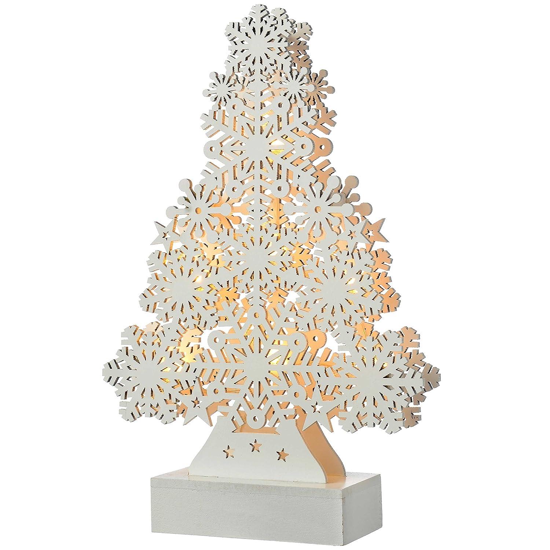 WeRChristmas–Fiocco di Neve, Motivo: Albero di Natale, Decorazione in Legno, Legno, White, Small WRC-7411