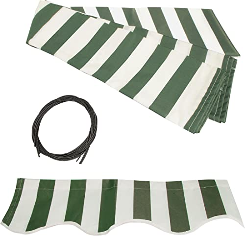 ALEKO FAB13X10GRWT00 Retractable Awning Fabric Replacement 13 x 10 Feet Green and White Striped