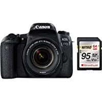 Canon EOS 77D 24.2MP Digital SLR Camera + EF-S 18-55 mm 4-5.6 is STM Lens/Camera Case + Strontium Extreme 64GB SD Card