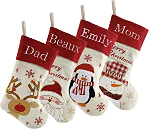 "DearSun Set of 4, 18"" Personalized Customization Christmas Stockings with Embroidery Technology, Santa,Snowman,Reindeer,Penguin Designs for Family Decor (Color 8) Free Update to Expedited"