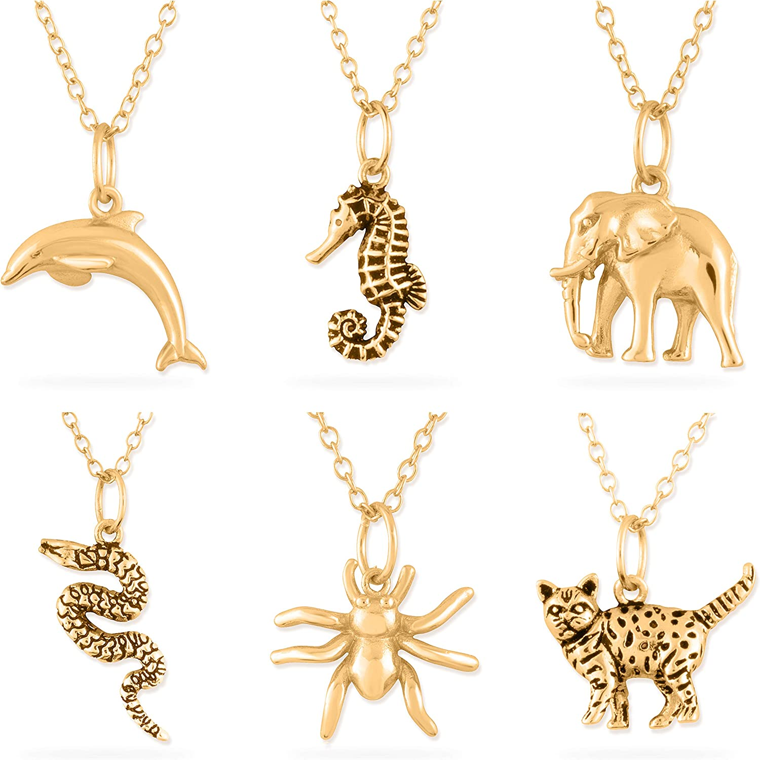 Azaggi Gold Plated Silver Necklace Panther Wild Cat Cub Animal Charm Pendant Necklace Lobster Claw.This Unisex Gold Plated Necklace is the Perfect Holiday Gift Jewelry Gift For Her For Him