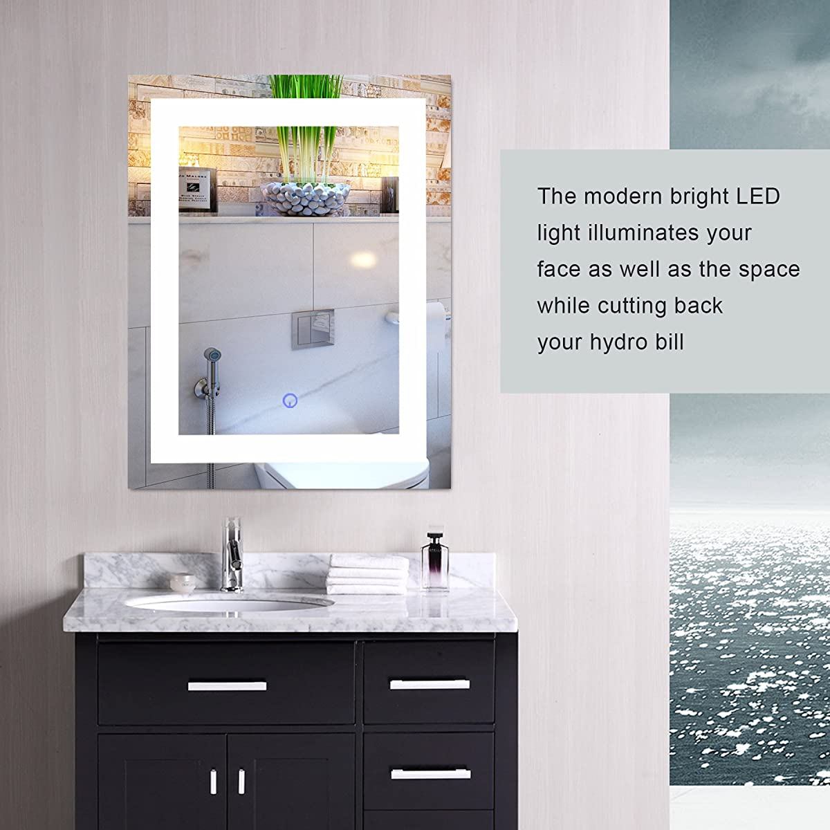 "CO-Z Modern LED Bathroom Mirror, Dimmable Rectangle Lighted Wall Mirror Lights Dimmer, Wall Mounted Contemporary Light Up Makeup Vanity Cosmetic Bathroom Mirror Over Sink (24"" x 30"")"